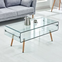 GLASS TABLE WITH WOODEN FOOT