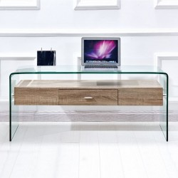GLASS TABLE OF GLASS AND WOOD